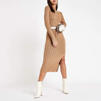 River Island Womens Camel ribbed knit high neck bodycon dress