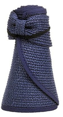 Livecity Women's Summer Wide Brim Roll Up Foldable Sun Beach Straw Braid Visor Sun Hat (Dark Blue)