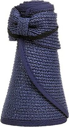 pu ran Women Fashion Summer Wide Brim Straw Braid Visor Roll Up Foldable Sun Beach Hat Size M (Dark Blue)