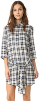 BB Dakota Claremont Plaid Tie Front Shirt Dress