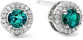JCPenney FINE JEWELRY 1/10 CT. T.W. Diamond & Genuine Emerald Stud 10K White Gold Earrings