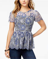 Kensie Chambray-Lace Illusion Peplum Top