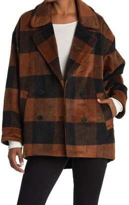 Halogen Buffalo Check Print Double Breasted Pea Coat