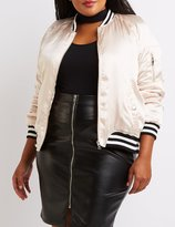 Charlotte Russe Plus Size Satin Varsity Stripe Bomber Jacket