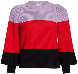 A.L.C. Colorblock Puff-Sleeve Sweater