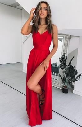 Beginning Boutique Katrina Split Maxi Dress Red