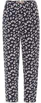Marni Floral-printed cropped silk trousers