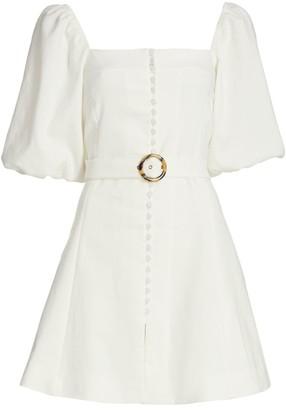 Jonathan Simkhai Emery Puff-Sleeve Belted Mini Dress