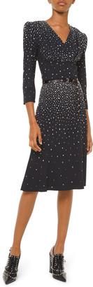 Michael Kors Embellished V-Neck Flare Dress