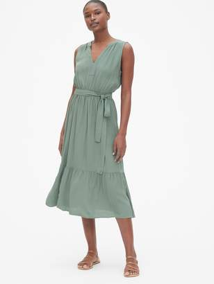 Gap Split-Neck Tiered Midi Dress
