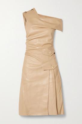 Proenza Schouler One-shoulder Button-embellished Leather Dress - Sand