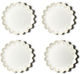 "Coton Colors 8"" Arabesque Trim Scallop Edge Plates, Set of 4"