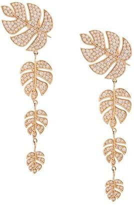 Sydney Evan 14kt yellow gold Monstera leaf diamond drop earrings
