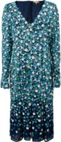 Michael Kors Embroidered Plunge Floral Dress