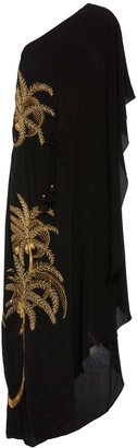 Figue Maisie One-Shoulder Embroidered Crepe De Chine Dress