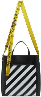 Off-White Black Leather Diag Tote