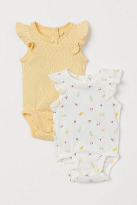 H&M 2-pack Ruffled Bodysuits - Yellow