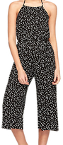 Miss Selfridge Petite Culotte Printed Jumpsuit, Black/White