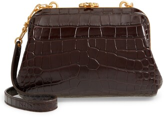 Tory Burch Small Cleo Croc Embossed Leather Shoulder Bag