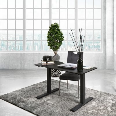 """Symple Stuff Height Adjustable Standing Desk with Built in Outlets Color: Black, Size: 29.38"""" H x 59"""" W x 28"""" D"""