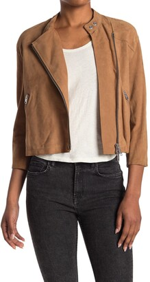 AllSaints Dahlia Crop Leather Moto Jacket