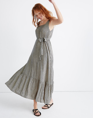 Madewell Natalie Martin Silk Virginia Maxi Dress in Navy Stripe