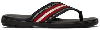 Prada Black and Red Ribbon Stripes Sandals