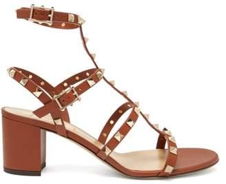 Valentino Rockstud Block-heel Leather Sandals - Womens - Dark Tan