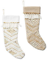 One Kings Lane Asst. of 2 Sequin Stockings - White/Gold