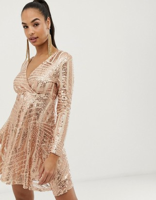 Club L London sequin disc skater dress-Pink