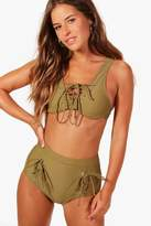 boohoo Petite Louise Lace Up Detail Bikini khaki