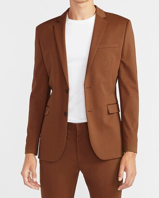 Express Extra Slim Solid Caramel Luxe Comfort Knit Suit Jacket