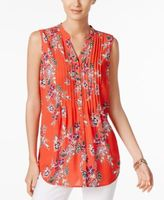 Charter Club Petite Pleated Printed Top, Created for Macy's