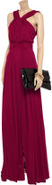 Issa Ruched stretch-crepe gown