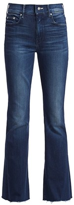 Mother The Weekender High-Rise Flare Fray Hem Jeans