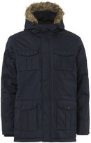 Brave Soul Men's Canadian Fur Trim Parka Jacket - Navy