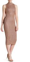 Wow Couture Mock Neck Sleeveless Side Chain Metallic Dress