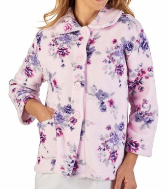 Slenderella Ladies Floral Bed Jacket Soft Coral Fleece Button Up Housecoat XXL (Pink)