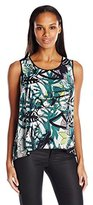Nic+Zoe Women's Green Graffiti Top