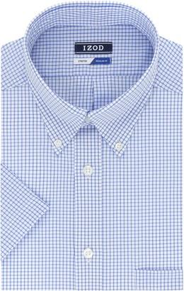 Izod Men's Regular Fit Short Sleeve Check Dress Shirt