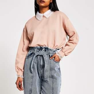 River Island Womens Petite Pink embellished collar sweatshirt