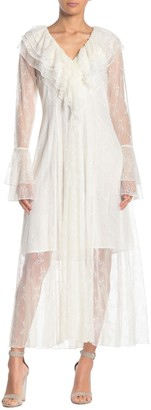 Tov Bell Sleeve Ruffle Lace Dress