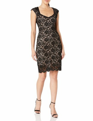 Tiana B T I A N A B. Women's Petite Floral Sequence Lace Sheath with Sweetheart Neckline