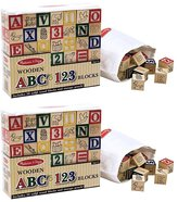 Melissa & Doug Wooden ABC & 123 Blocks (50 pcs) 2 pack