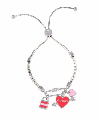 GUESS Slider Close Bracelet with Lock/Heart Charms