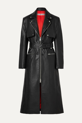 Alexander Wang Belted Leather Trench Coat - Black