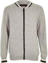 River Island Boys grey knit bomber jacket