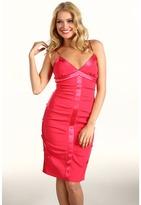 Nicole Miller Satin Crepe Tucked Dress With Slip (Watermelon) - Apparel