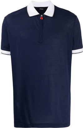 Kiton Contrasting-Collar Zipped Polo Shirt