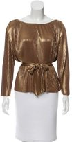 Halston Pleated Metallic Top